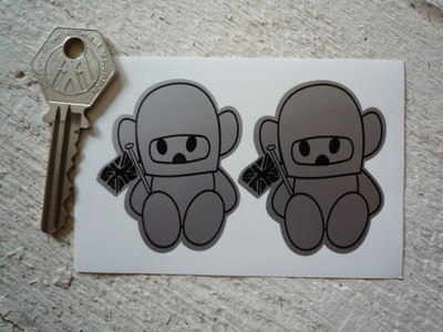 "Hesketh Teddy Bear Black & Silver Stickers. 2"" Pair."