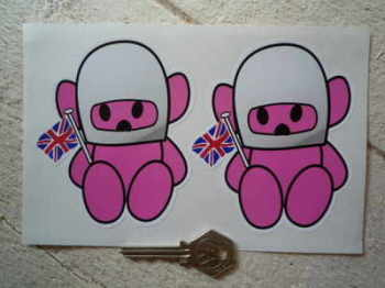 "Hesketh Teddy Bear Pink Stickers. 4"" Pair."