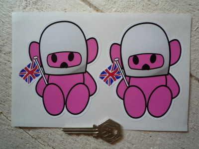 "Hesketh Teddy Bear Pink Stickers. 4"" Pair."