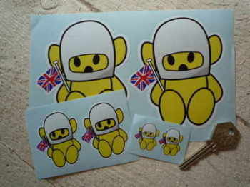 "Hesketh Teddy Bear Yellow Stickers. 1"", 2"", 3"" or 4"" Pair."