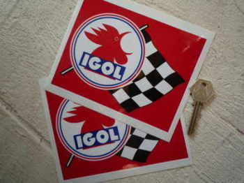 "Igol Oil Huiles Stickers. 6"" Pair."