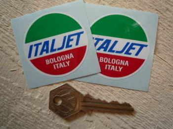"""Italjet Bologna Italy Round Stickers. 2"""" Pair."""