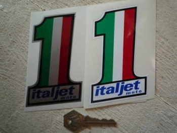 "Italjet Moto No.1 Stickers. 4"" Pair."