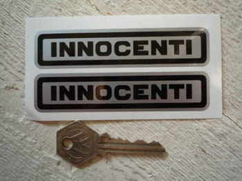 "Innocenti Black on Silver Text Stickers. 3"" or 4"" Pair."