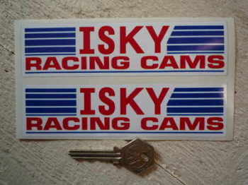 "Isky Racing Cams. Oblong Stickers. 6"" Pair."