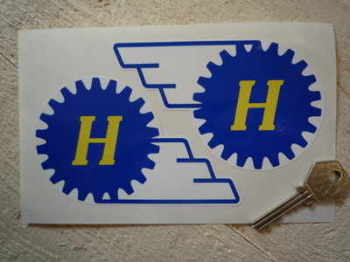 "Hewland Gear Style Shaped Stickers. 5"" Pair."
