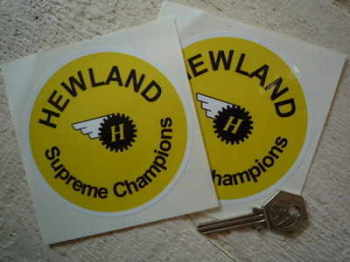 "Hewland Supreme Champions Round Stickers. 4"" Pair."