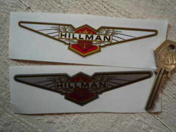 "Hillman Winged Logo Stickers. 5"" Pair."