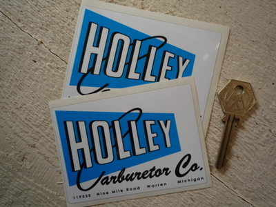 "Holley Carburetor Co Stickers. 4"" Pair."