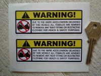 "Bra Warning Stickers. 4"" Pair."