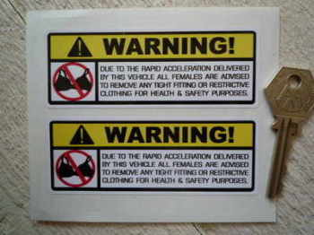 "Bra Warning Stickers. 4"" Pair."