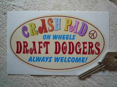 "Crash Pad & Draft Dodgers 70's Theme Sticker. 5.5""."