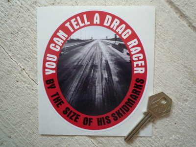 """Drag Racer Skidmarks Sticker. 5""""."""