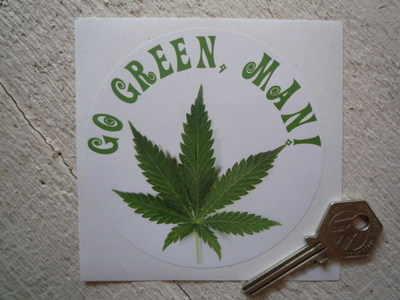 """Go Green Man! Hippy Sticker. 4""""."""