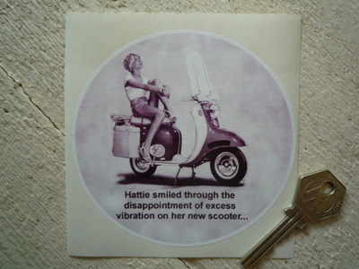 "Hattie's Vibrating Scooter Rude Sticker. 4.25""."