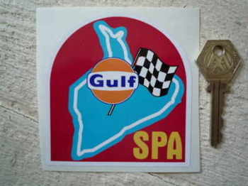 "Spa Race Circuit Gulf Sticker. 3.5""."
