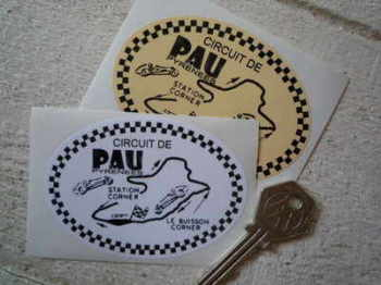 "Circuit de Pau Pyrenees Oval Sticker. 3.5""."