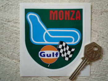 "Monza Race Circuit Gulf Sticker. 3.5""."
