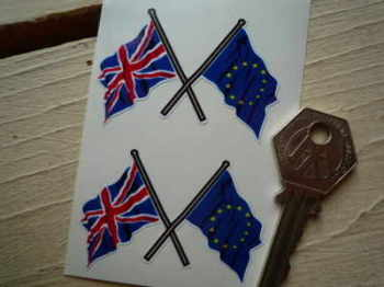 "Union Jack & EU Crossed Flag Stickers. 2.25"" Pair."