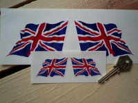 "Union Jack Wavy Flags. 2"", 4"", 6"", 8"", 10"" or 12"" Pair."