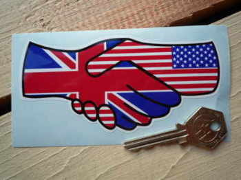 "Union Jack & Stars & Stripes Hand Shake Sticker. 5""."