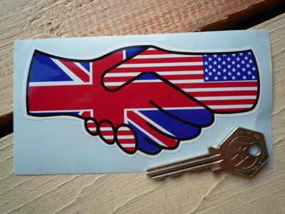 "Union Jack & Stars & Stripes Hand Shake Sticker. 5""."