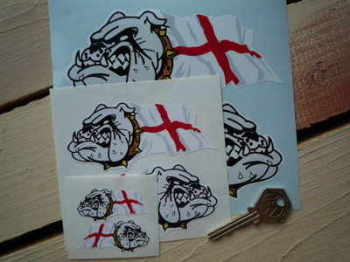 "Bulldog & St George's Flag Stickers. 2"", 4"", 6"" or 12"" Pair."