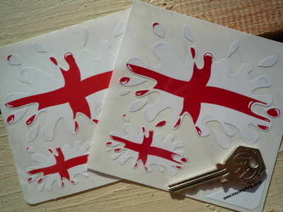 St George's Cross English Flag Splat Style Stickers. Set of 4.