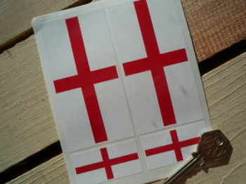 St George's Cross English Flag Stickers. Set of 4.