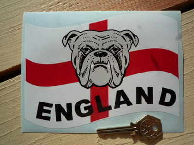 "England Bulldog St Georges Cross Sticker. 6""."