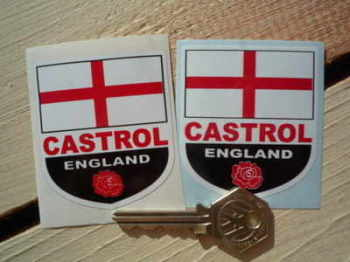 "England Castrol Shield Stickers. 2"" Pair."