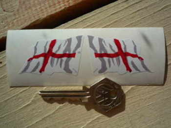 "St Georges Cross English Wavy Flag Stickers. 2"" or 4"" Pair."