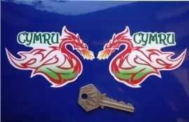 "Cymru Welsh Dragon Style Stickers. 4"" Pair."