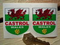"Welsh Dragon & Castrol Shield Stickers. 2"" Pair."