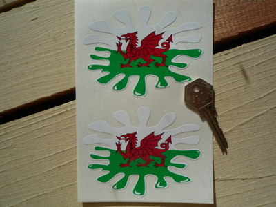 """Welsh Dragon Flag Splat Style Stickers. 4"""" Pair."""