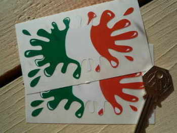 "Ireland Irish Flag Splat Style Stickers. 4"" Pair."
