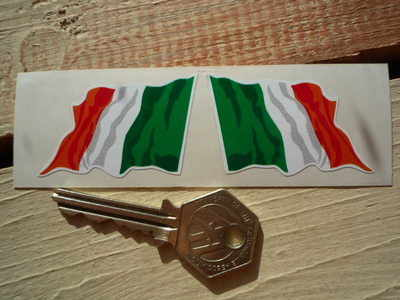 "Ireland Irish Wavy Flag Stickers. 2"" Pair."