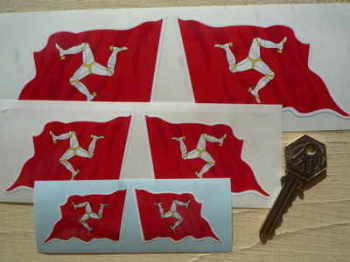"Isle of Man Wavy Flag Stickers. 2"", 3"", 4"", 5"", or 10"" Pair."