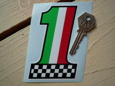 "Italian Flag & Chequered No. '1' Sticker. 4""."