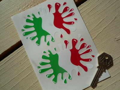 "Italian Flag Splat Style Stickers. 4"" Pair."
