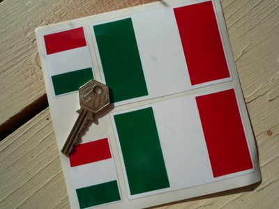 "Italian Flag Stickers. Set of 4. 2"" & 4""."