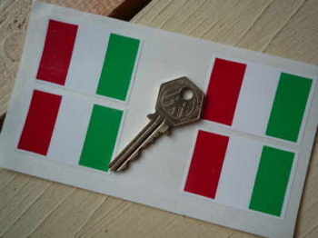 "Italian Flag Stickers. Set of 4. 2""."