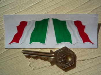 "Italian Wavy Flag Stickers. 2"", 3"", or 4"" Pair."