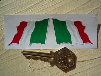 "Italian Wavy Flag Stickers. 2"", 3"", or 4"" Pair."