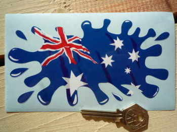 "Australian Flag Splat Style Sticker. 6""."