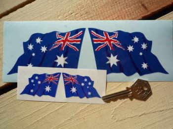 "Australian Wavy Flag Stickers. 2"" or 4"" Pair."