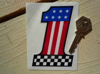 "USA Stars & Stripes No '1' Sticker. 4""."
