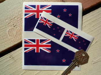 New Zealand Flag Sticker. Set of 4.