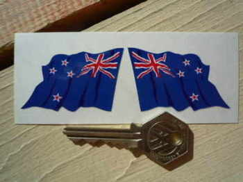 "New Zealand Wavy Flag Stickers. 2"" Pair."