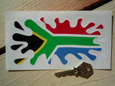 "South African Flag Splat Style Sticker. 6""."
